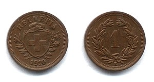 Rappen coins: Switzerland 1910