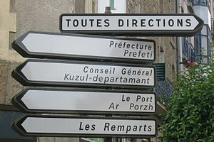 Bilingual sign, Vannes, Brittany