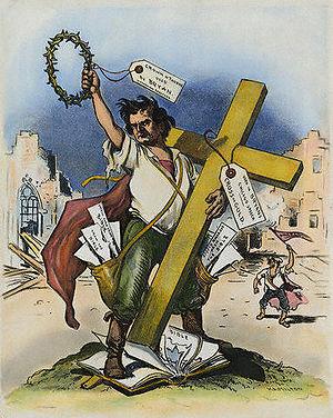 American cartoon by Grant Hamilton, 1896, on W...