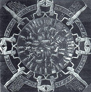 The Dendera Zodiac was on the ceiling of the G...