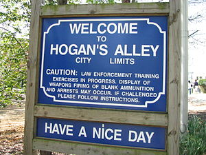 Hogan's Alley sign at the FBI Academy in Quant...