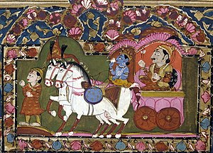 Krishna and Arjun on the chariot, Mahabharata,...