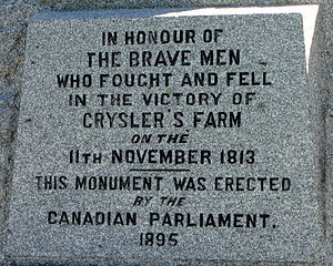 English: Memorial to Battle of Crysler's Farm,...