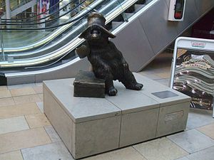 Statue of Paddington Bear in the shopping area...