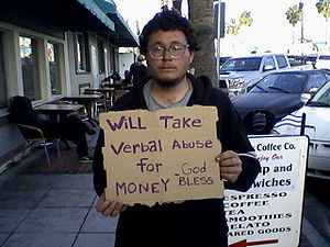 English: Panhandler in Oceanside, California.