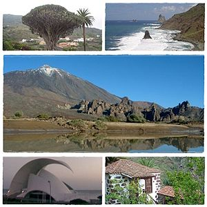 Clockwise from top: Dracaena draco, Roques de Anaga, Teide National Park, Traditional Canarian house and Auditorio de Tenerife.