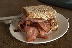 An impressive Bacon Butty.