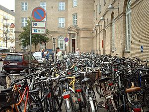 The bike park in front of the train station of...