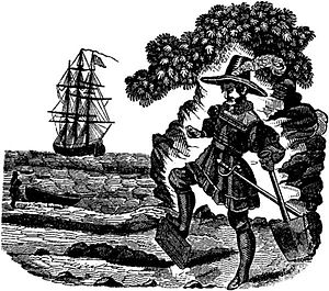 Captain Kidd burying his Bible as depicted in ...