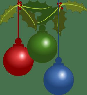 English: Three Christmas ornaments
