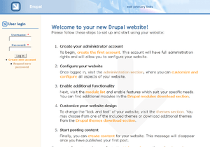 A screenshot of the Drupal CMS software