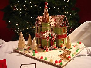Gingerbread house with path.