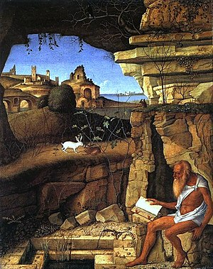 St. Jerome reading in the countryside, by Giov...