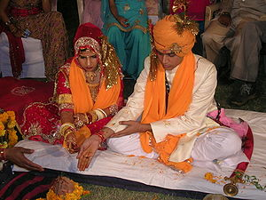 Hindu marriage ceremony from a Rajput wedding....