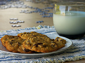 Milk and chocolate chip cookies, with puzzle i...