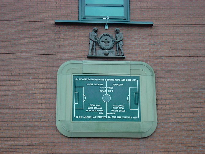 A plaque commemorating the Munich air disaster...