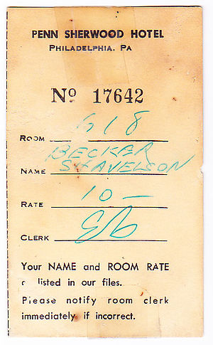 A Vintage Penn Sherwood Hotel room reservation...