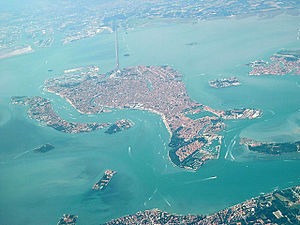 Aerial view of Venice including the Ponte dell...