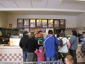 The front counter at the Wendy's Restaurant on...
