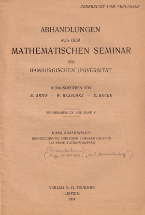 English: Hans Zassenhaus dissertation: title p...