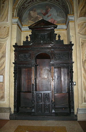 A confession box in Sant'Alessandro church in Milan, Italy. Picture by Giovanni Dall'Orto, February 17 2007.