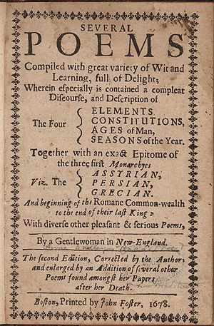 Second edition title page of Anne Bradstreet's...