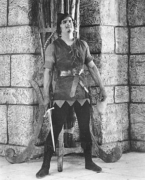 Douglas Fairbanks as Robin Hood; a screenshot ...