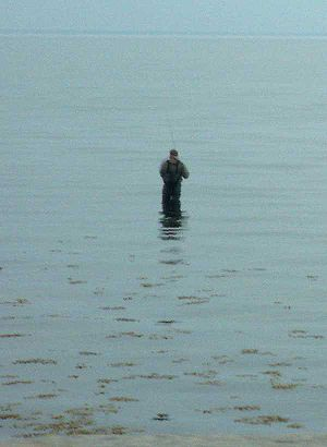 Fishing in waders