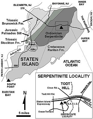Geological map of Staten Island, New York