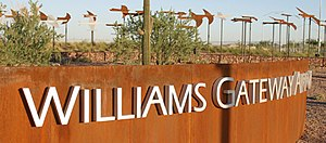 English: Entrance to Williams Gateway Airport ...