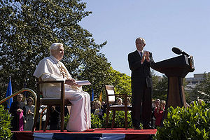 President George W. Bush applauds Pope Benedic...