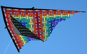 English: Multicolored nylon lattice delta kite...