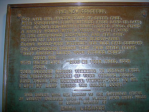 Plaque of The New Colossus poem by Emma Lazaru...