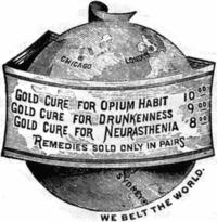Remedio para la adicción al opio, el alcoholismo y la neurastenia («Se vende sólo en parejas. Rodeamos el mundo»)
