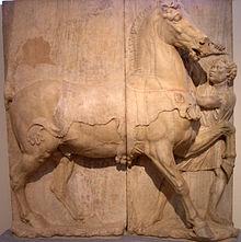 Esclavo etiope intentando amaestrar un caballo, fecha desconocida, Museo Arqueológico Nacional de Atenas.