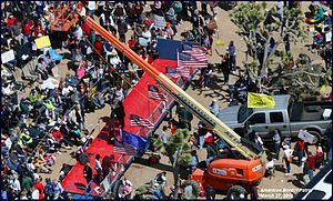 Aerial photo of Tea Party rally to oust Senate...