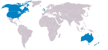 Map of UKUSA Community countries with Ireland
