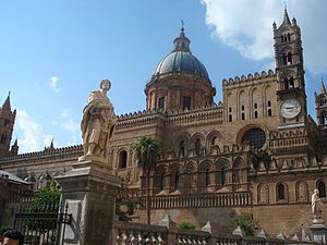 The flank of the Cathedral of Palermo (Sicily)...