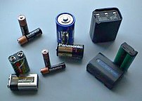 Various batteries: two 9-volt, two