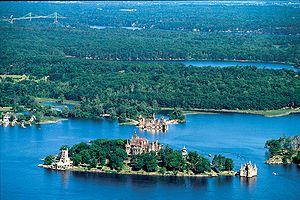 Aerial view of Boldt Castle and some of the Th...