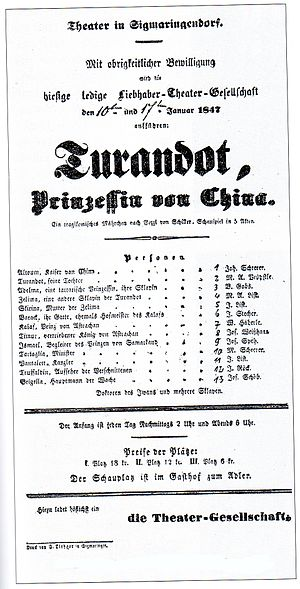 Deutsch: Theatereinladung der Ledigen Liebhabe...