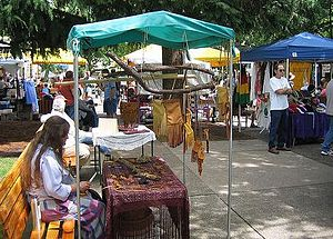 English: Craft booth at the Saturday Market in...
