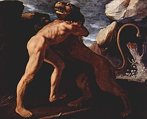 Hercules wrestling with the Nemean lion