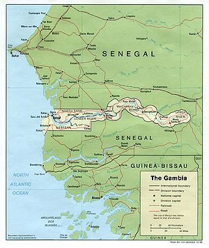 An enlargeable map of the Republic of the Gambia