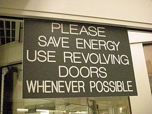 Revolving door sign in Syracuse, New York
