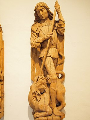 St George and the dragon - Wood carving