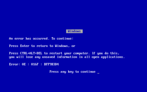 A Windows 9x/Me Blue Screen of Death.
