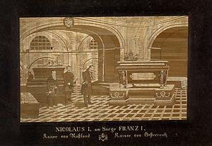 Nikolaus I. Kaiser von Rußland am Sarge Franz ...