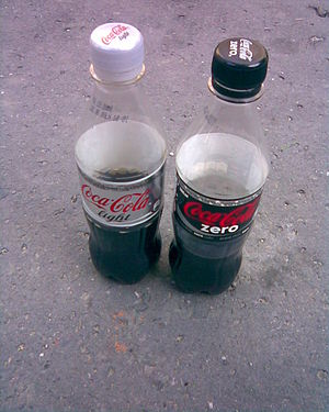 Bottles of Coca-Cola Zero a Coca-Cola Light