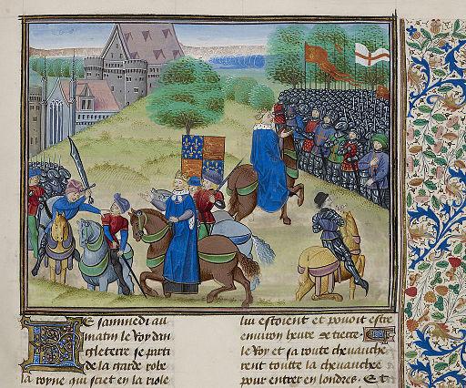 Muerte de Wat Tyler - Froissart, Chroniques de France et d'Angleterre, Book II (c.1475-1483), f.175 - BL Royal MS 18 E I